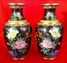 BEAUTIFUL PAIR 19thc. CHINESE CLOISONNE VASES w/ GILT WIRE FLORAL DECORATION