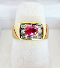 Vintage 18K Gold Small Men's / Unisex Ring with Ruby & Diamonds (8.7g, size 6.5)