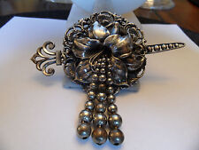 VINTAGE SIGNED STYLE METAL SPEC  N.Y BROOCH PIN LARGE