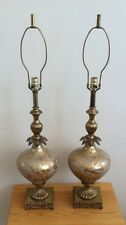 A Pair of Vintage Brass Glass Table Lamps
