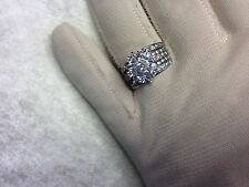 DIAMONIQUE 2.10 cttw MIXED CUT FLOWER RING, PLATINUM CLAD, SIZE 8 (M643-7-30)
