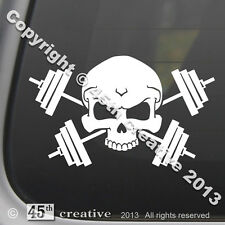 Weight Trainer Crossbones Decal - weight lifting bar set dumbbells skull sticker