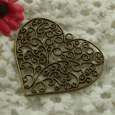 free ship 18 pieces bronze plated heart pendant 64x57mm #3029