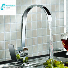Kitchen Basin Sink Mixer Tap Square Laundry Faucet Chrome Brass Swivel Spout