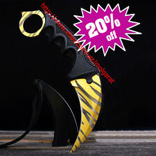 NEW Golden Tiger Tooth Stainless Steel Neck Claw Black KARAMBIT KNIFE And Sheath
