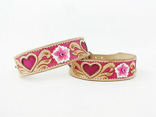 "18"" WESTERN STYLE PINK HEART BLING NATURAL TOOLED LEATHER CANINE DOG COLLAR"