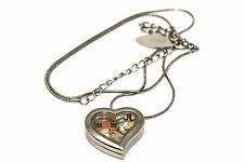 DISNEY HEART LOCKET SILVER NECKLACE FLOATING MOTHERS DAY CINDERELLA CASTLE CHARM