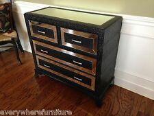 Hollywood Regency Mirrored Console Cabinet Chest Table BLACK Bedroom Furniture
