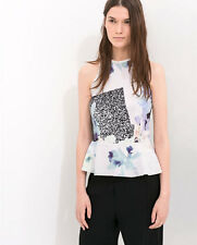 NEW zara peplum top floral print pink yellow blue black TRF size S Small