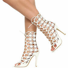 WOMENS LADIES HIGH STILETTO HEEL CUT OUT LACE UP CAGED OPEN TOE ANKLE SHOES