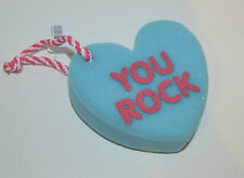 BATH & BODY WORKS BLUE HEART YOU ROCK SHOWER SPONGE STRAP LOOFAH POUF VALENTINES