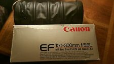 Canon ef 100-300 f / 5.6 L-NEAR MINT-Boxed & Custodia + PARALUCE + UV Filtro -