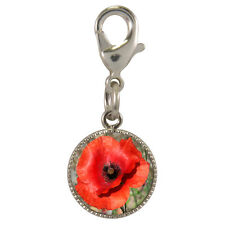 Poppy Silver Plated Clip Charm for bracelets phone purse red wild flower NEW