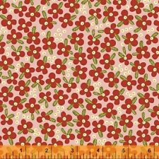 By 1/2 Yard Windham Petite Fleur 100% Organic Cotton Fabric Packed Flowers Pink