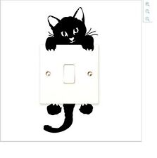 BLACK CAT SHAPED LIGHT SWITCH WALL DECAL TWO PART STICKER (BRAND NEW)