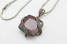 """Large Square Cut Red Lab Garnet Pendant Necklace with Marcasite on 16"""" Chain"""