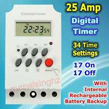 25A Daily Weekly Programmable Electronic Timer Switch 220V AC MCB Digital Relay