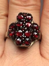 Antique Hallmark 333 Bohemian Rose Cut Garnet Gold Ring-uk Size R,7.2g
