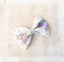 Pretty pastel Licorne blanche nuage arc-en-ciel nœud pour cheveu Clip kawaii pin up