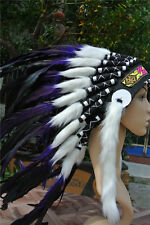 21inch Purple indian feather headdress indian war bonnet for halloween costume