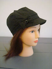 MONSOON ACCESSORIZE BAKER BOY BLACK POLKA DOT BOW CAP SUNHAT HAT One Size New