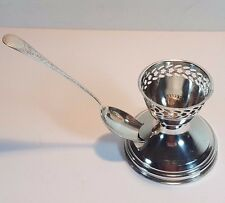 SINGLE HM SILVER ANTIQUE PIERCED EGG CUP WITH SLOTTED STAND & MATCHED SPOON 1923