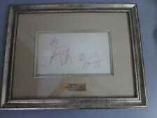 Original 1937 Walt Disney Snow White Pre Cel Deer & Fawn Graphite Framed Drawing