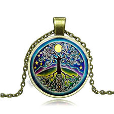 Vintage Tree of life Cabochon Photo Bronze Glass Chain Pendant Necklace BAC152