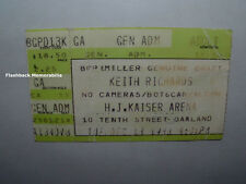 KEITH RICHARDS 1988 Concert Ticket Stub OAKLAND KAISER ARENA Rolling Stones Rare