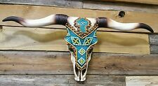 "Western cow skull with tribal tile design  21"" × 12"" home decor"