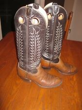 Womens Tony Lama Black Label Two Tone Brown Leather Cowboy Boots Sz 12