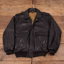 "Mens Vintage A2 Style Leather Bomber Flight Jacket Black M 42"" R4672"