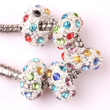 5pcs 925 Silver CZ nest big hole Beads Fit European Charm Bracelet DIY AB112