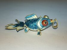 Vintage Chinese Silver Enamel Light Blue Wide Fish Pendant With Flat Bail