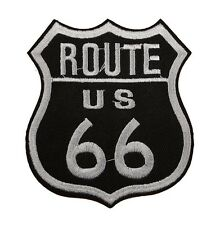 U.S. Route 66 Black & White Embroidered Patch Motorcycle Biker