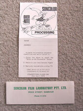 Suncolor Film Processing Nambour 1978 Retro Witch Competition Form