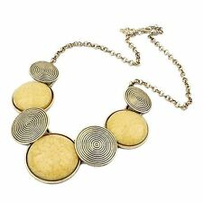 Big Bronze Spiral Disc Statement Necklace Yellow Glass Ceramic