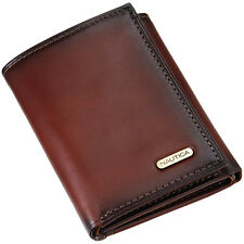 NEW NAUTICA MEN'S LEATHER CREDIT CARD ID WALLET TRIFOLD 6261-04 TAN