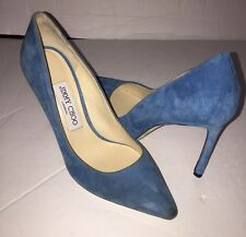 Jimmy Choo Anouk Blue Suede Pointy Toe Pumps 36.5