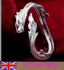uk* adjustable 925 STERLING SILVER dragon bangle bracelet men lady GIFT +GIFTBAG