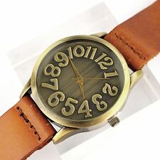 Fashion Women's Retro Vintage Bronze Round Dial Leather Band Quartz Wrist Watch