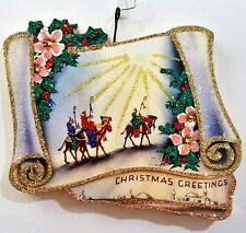ROAD to BETHLEHEM, WISE MEN, CAMELS, STAR * Glitter CHRISTMAS ORNAMENT * Vtg Img