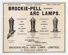 Brockie-Pell Arc Lamp Ltd Worship Street London - Old Engineering Advert 1904
