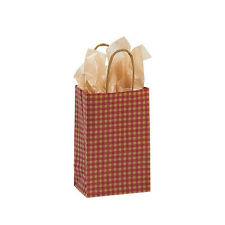 "Count of 100 Small Red Gingham Paper Shopping Bag 5 ¼"" x 3 ¼"" x 8 ¾"""