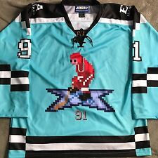 NHL94 Sega Nintendo Ice Blue Detroit Red Wings Fedorov Hockey Jersey XL
