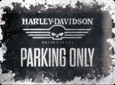 Harley Davidson Parking Only large embossed steel sign (na 3040)  Skull version