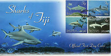 Fiji 2014 FDC Sharks 4v Set Cover Marine Blacktip Reef Whitetip Shark Stamps