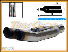 "ASPEC BLASTPIPES RIGHT BURNT TIPS 3"" INLET T-304 UNIVERSAL MUFFLER EXHAUST"