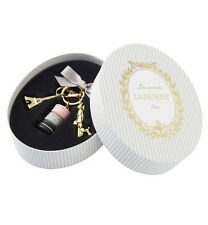 LADUREE Japan ❤ Bag Chain Key Ring Macaron Parisienne Rose Gray w/ Box Lady Dog