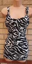 NEW LOOK BLACK WHITE ZEBRA GLITTER SILVER BLOUSE TOP  SHIRT TUNIC CAMI VEST 14 L